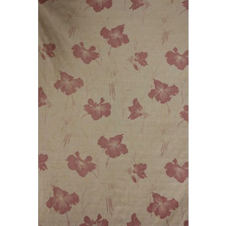 Vintage 1920s French Art Deco Cotton Faded Floral Cotton Fabric For Sale