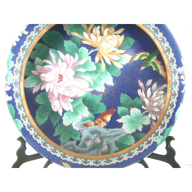 Large Blue Cloisonné 'Flower Bowl' and Stand - Image 3 of 11