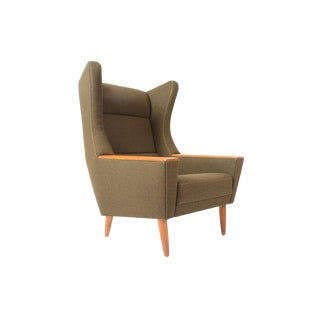 Danish Modern Wingback Lounge Chair in Olive For Sale