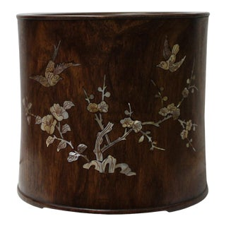 Chinese Oriental Mother of Pearl Round Wood Brush Holder Display For Sale