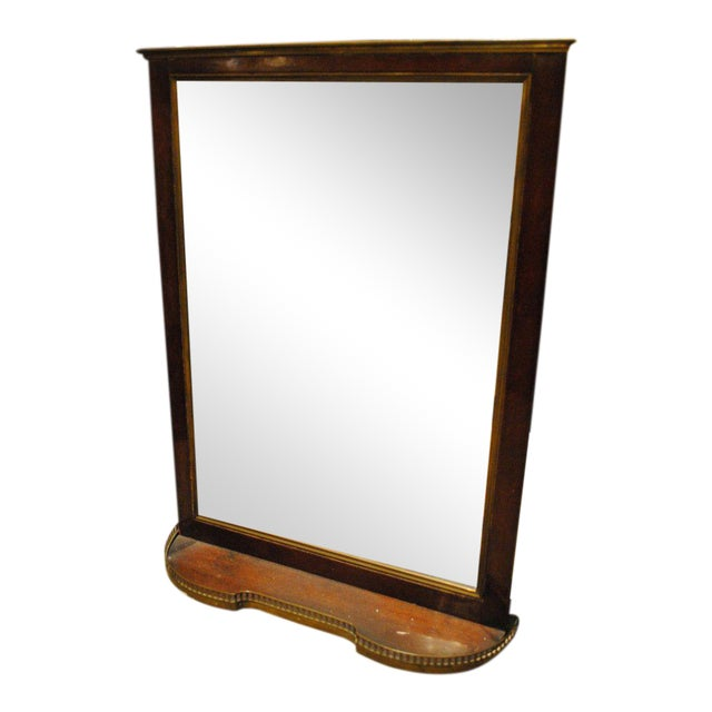 19th Century Mahogany Mirror with Shelf For Sale