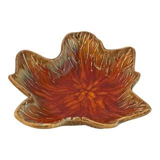 Vintage Ceramic Burnt Orange Leaf Dish For Sale