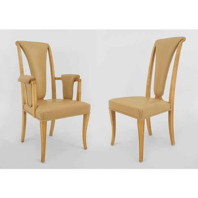Maple English Art Deco Maple High Back Dining Chairs- Set of 8 For Sale - Image 7 of 7