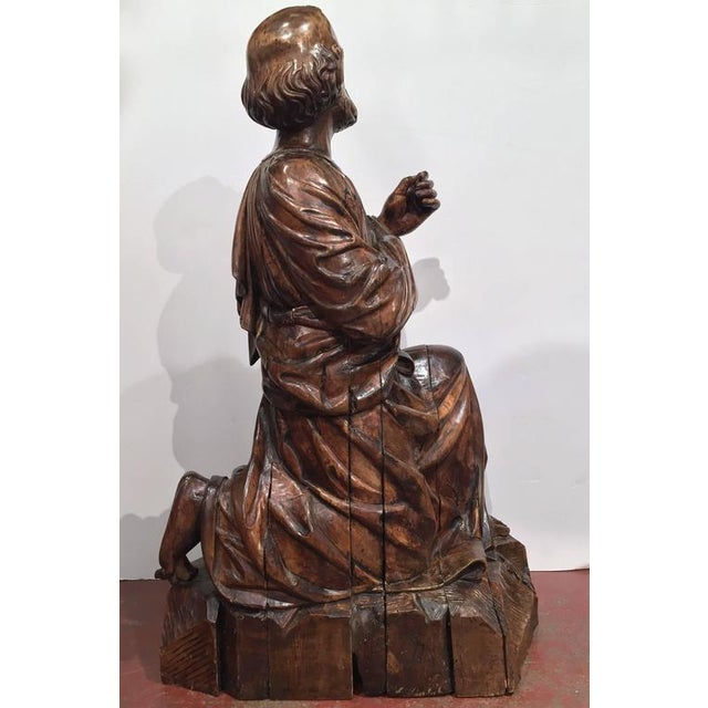 18th Century French Carved Walnut Statue of Saint Peter Kneeling For Sale In Dallas - Image 6 of 10
