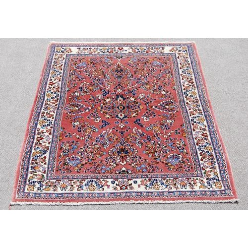 Handmade Floral Medallion Persian Sarouk Rug - 4.11' x 7.2' For Sale In Washington DC - Image 6 of 6
