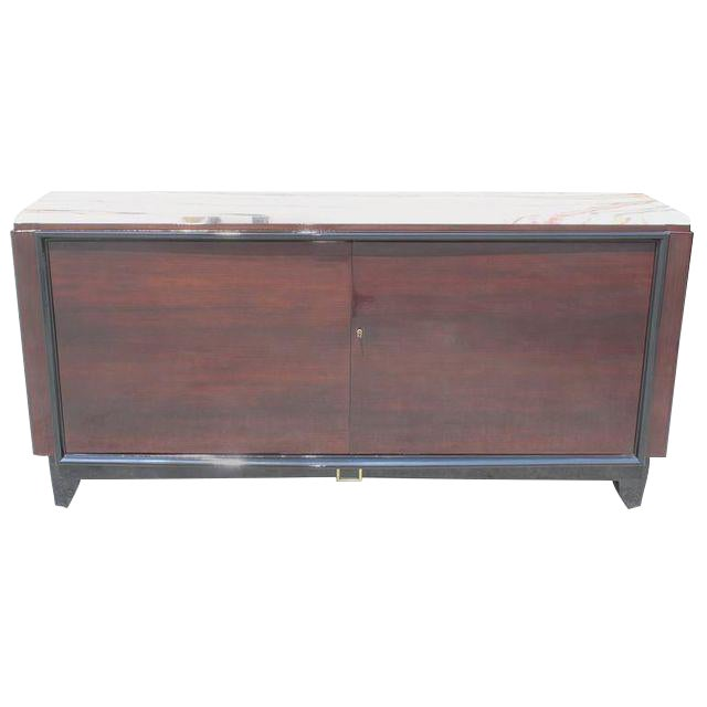 1940s Maurice Rinck French Art Deco Marble Top Macassar Ebony Sideboard / Bar For Sale