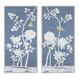 """Jardins en Fleur """"Brympton"""" Chinoiserie Hand-Painted Silk Diptych by Simon Paul Scott in Burnished Silver Frame - a Pair For Sale"""
