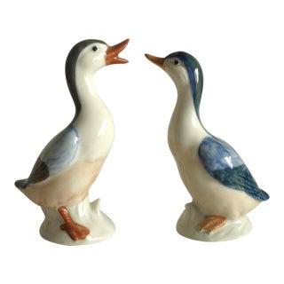 20th Century Antique Porcelain Japanese Duck Figurines - a Pair For Sale