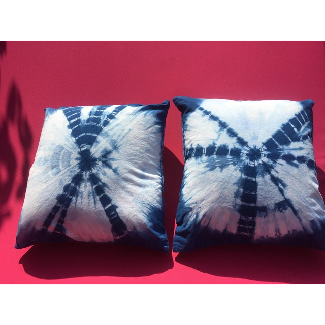 2010s Shibori Chic Indigo Hand Dyed Throw Pillows - a Pair For Sale - Image 5 of 8