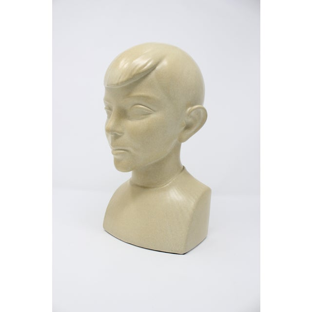 Waylande Gregory Art Deco Ceramic Boy Bust For Sale - Image 9 of 9