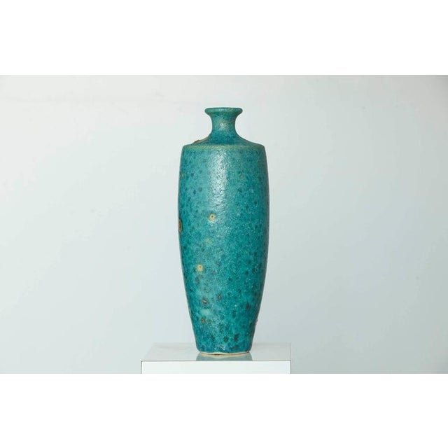 Mid-Century Modern Guido Gambone - Large Italian Modern Turquoise Blue Ceramic Vase For Sale - Image 3 of 8