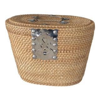 Vintage Boho Asian Tea Caddy Wicker Basket For Sale