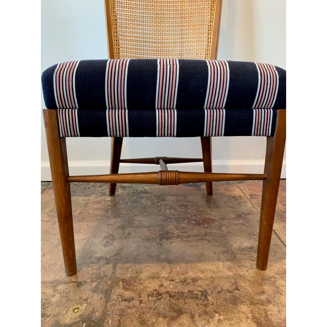 Vintage French Cane Back Chairs With Upholstered Seats - Set of 4 For Sale - Image 4 of 8