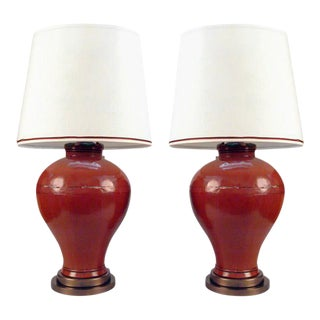 One Pair Chinese Lacquered Elm Grain Jars Table Lamps For Sale