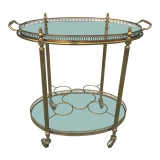 Mid Century Brass Oval Serving Cart With Removable Gallery Tray Top and Bottle Rack For Sale