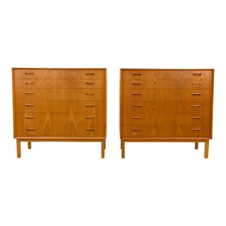 Vintage Mid Century Danish Teak Highboy Dressers Chests of Drawers- A Pair For Sale