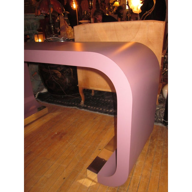 Vintage Postmodern Lavender Mauve Pink-Purple Waterfall Console Table For Sale - Image 10 of 11