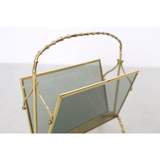 Maison Baguès Maison Bagues Brass and Glass Faux Bamboo Magazine Rack For Sale - Image 4 of 8