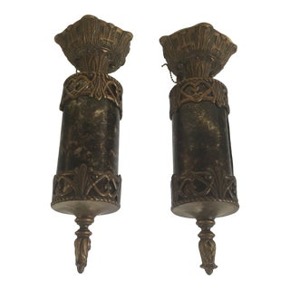 1920s Spanish Revival Flush Mounts With Mica Shades - a Pair For Sale