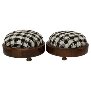 Antique Checkered Footstools - a Pair