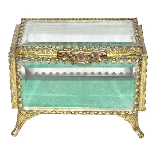 19th Century French Beveled Glass and Brass Jewel-Trinket Box For Sale
