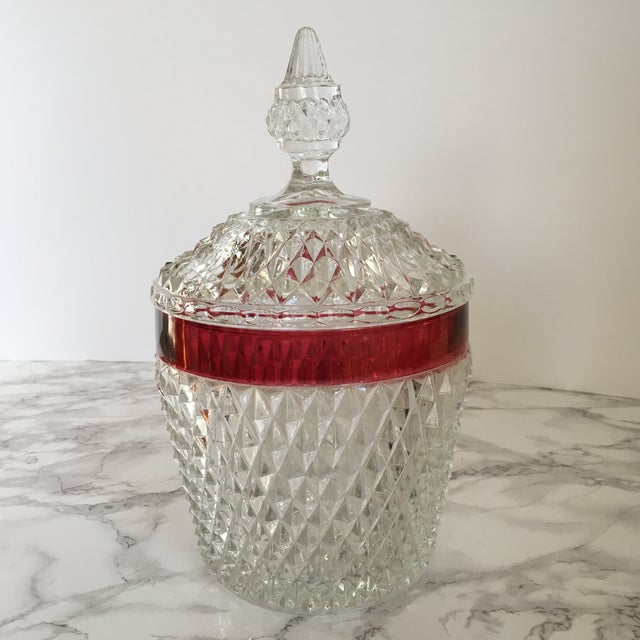Hobnail Glass Ruby Flash Ice Bucket For Sale - Image 11 of 11