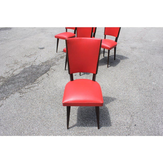 Red 1940s Vintage French Art Deco Solid Mahogany Dining Chairs- Set of 5 For Sale - Image 8 of 13