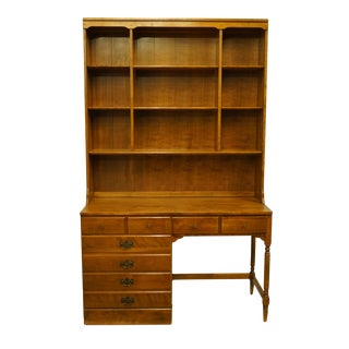 """20th Century Traditional Ethan Allen Heirloom Nutmeg Maple Crp 48"""" Student Desk With Bookcase Hutch For Sale"""