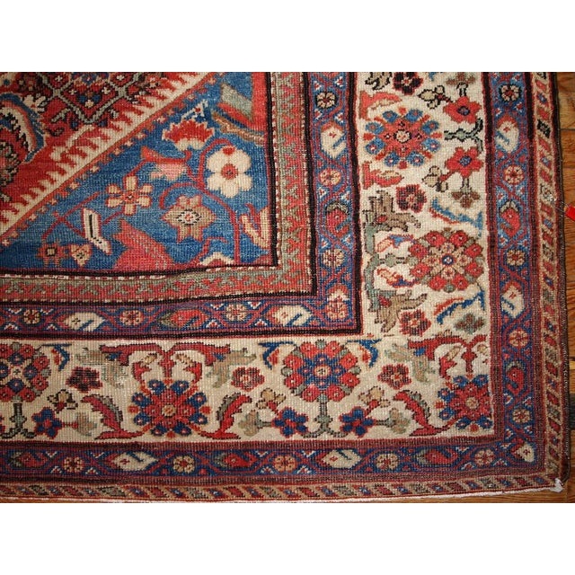 "Blue Antique Persian Handmade Mahal Rug - 8'9"" X 11'7"" For Sale - Image 8 of 10"