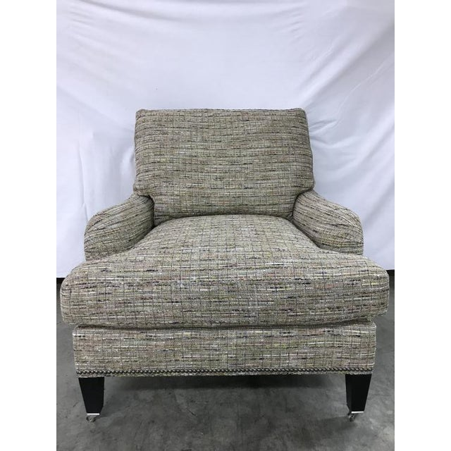 The Sills Chair is a first quality showroom sample that features a Green fabric (HH3-0216-45) with a City Dark finish. It...