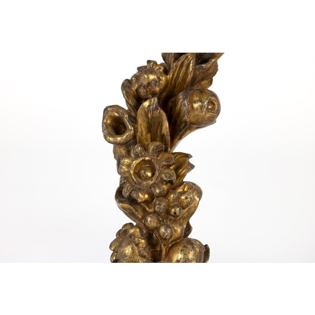 Gold Pair of 18th Century Carved Giltwood Architectural Elements Depicting Fruit and Flowers, Italian, Circa 1700. For Sale - Image 8 of 9