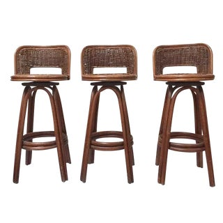 Vintage Rattan & Bamboo Swivel Bar Stools - Set of 3 For Sale
