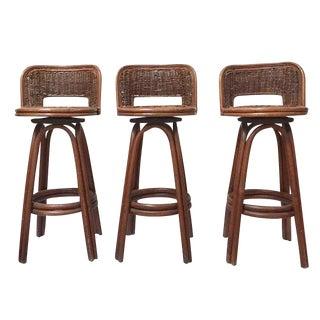 Vintage Rattan & Bamboo Swivel Bar Stools - Set of 3