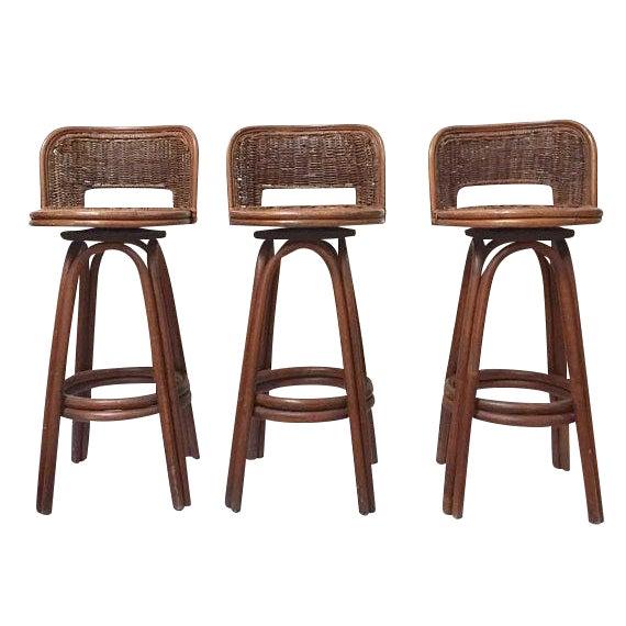 Vintage Rattan & Bamboo Swivel Bar Stools - Set of 3 For Sale