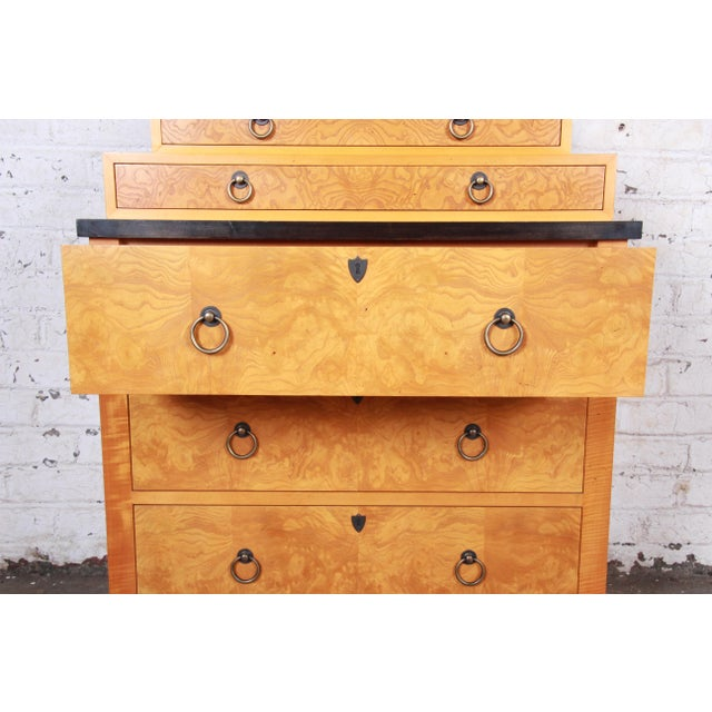Baker Furniture Biedermeier Burl Wood and Primavera Highboy Chest of Drawers For Sale - Image 9 of 13