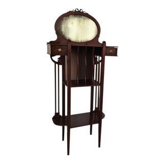 1920s Art Deco Vinyl Cabinet Vanity in Mahogany For Sale