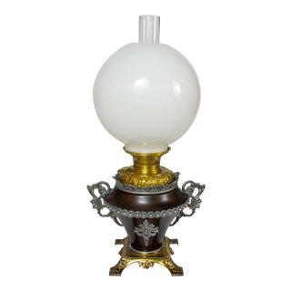 Bradley and Hubbard Oil Lamp With White Shade For Sale