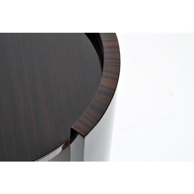 Ebony Contemporary Round Mid-Century Style Tables - a Pair For Sale - Image 7 of 11
