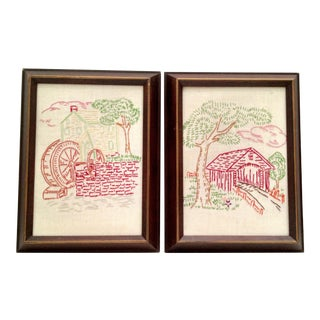 Vintage Framed Needlepoint Art For Sale