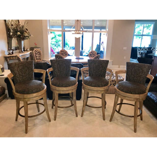 Swivel Barstools by Swaim - Set of 4 For Sale - Image 13 of 13