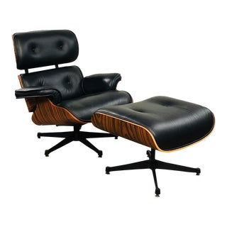 Mid Century Modern Leather and Rosewood Lounge Chair For Sale
