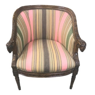 Striped Fabric Bergere Barrel Back Chair For Sale