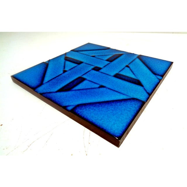 """Beautiful cobalt blue geometric 6"""" x 6"""" glazed ceramic tile. Made in Italy, c. 1960-70's. Condition: Excellent overall."""