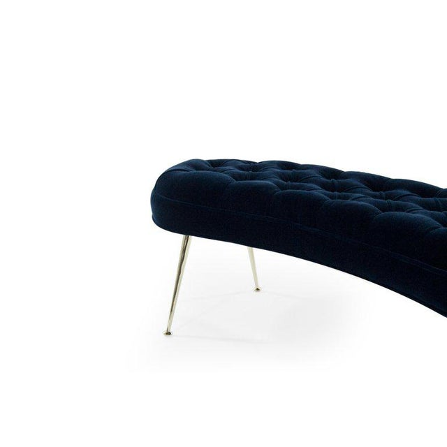 Tufted Benches in Deep Blue Mohair (Pair Available) For Sale - Image 9 of 12