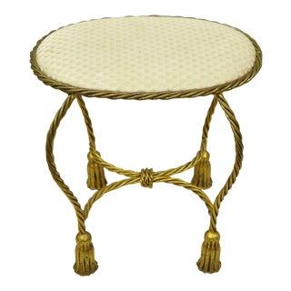 Vintage Mid Century Gold Gilt Hollywood Regency Rope & Tassel Seat For Sale