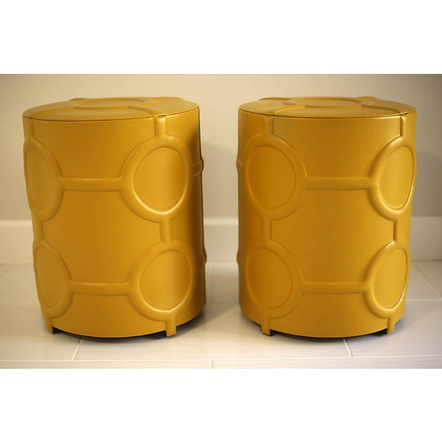 Animal Skin Mustard Yellow Leather Drum Table For Sale - Image 7 of 7