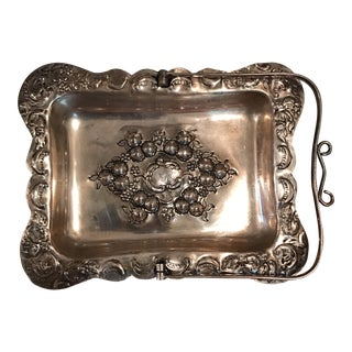 Vintage Silver Tray With Handle For Sale