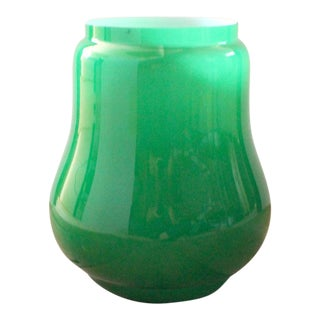 Mid Century Modern Green Italian Glass Vase in the Style of Carlo Moretti For Sale