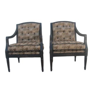 Mid Century Custom Houndstooth-Upholstered Armchairs - a Pair For Sale