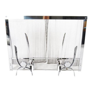 Modern Chrome Fireplace Set - 3 Pieces For Sale